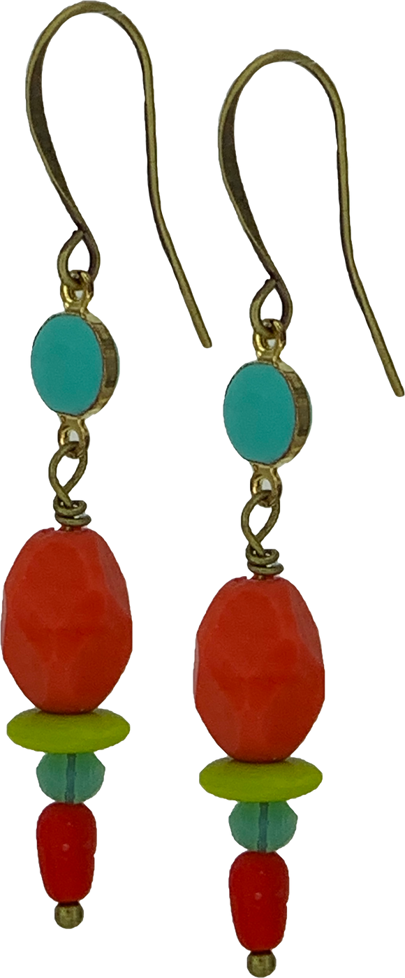 Red Czech Glass Bead with Chartreuse Vintage Teal Chain (Qty. 1 Pair)
