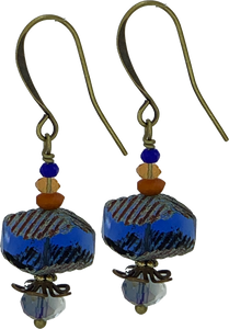 Navy Czech Glass Bead with Czech Glass Accents (Qty. 1 Pair)