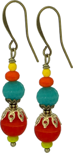 Fire Engine Red, Teal, and Orange Czech Glass Drop (Qty. 1 Pair)