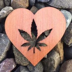 Heart MJ Leaf Redwood Laser Cut Sticker (Qty. 6)