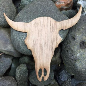 Cow Skull Beech Laser Cut Sticker (Qty. 6)