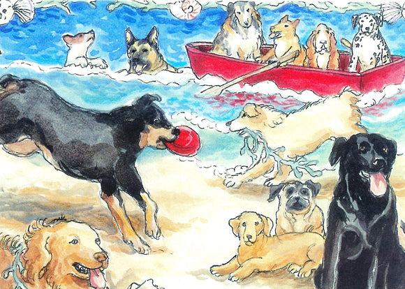 Dogs at the Beach with Red Boat (Qty. 6)