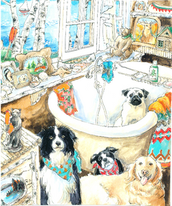 Dogs in Rustic Bathroom (Qty. 6)