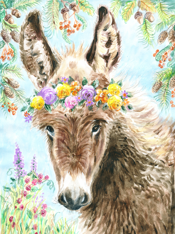 Donkey with Flower Crown (Qty. 6)