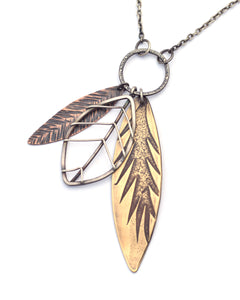 Large Mixed Metal Leaf Pendant (Qty. 1)