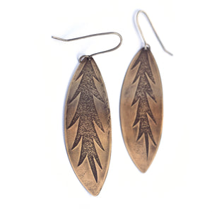 Brass Roll Print Verigated Leaf Dangles (Qty. 1 Pair)
