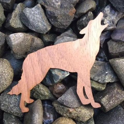 Howling Wolf Walnut Laser Cut Sticker (Qty. 6)