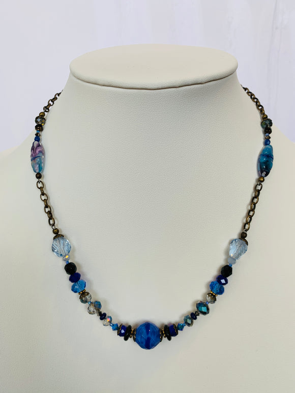 Blue Czech Glass and Antique Brass Bits of Bliss Necklace (Qty. 1)