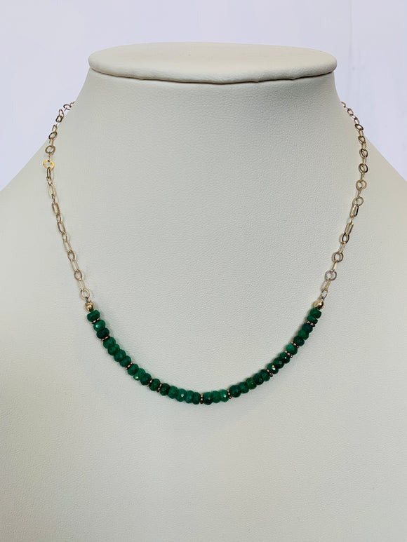 Emerald and Sterling Silver Necklace (Qty. 1 Pair)