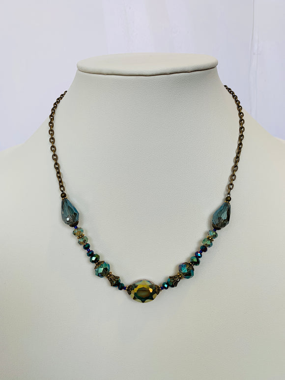 Blue and Green Transparent Bits of Bliss Necklace (Qty. 1)