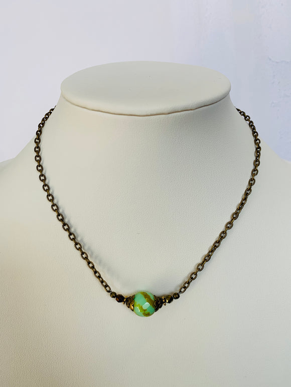 Mint Green and Tan Center Bead Necklace (Qty. 1)