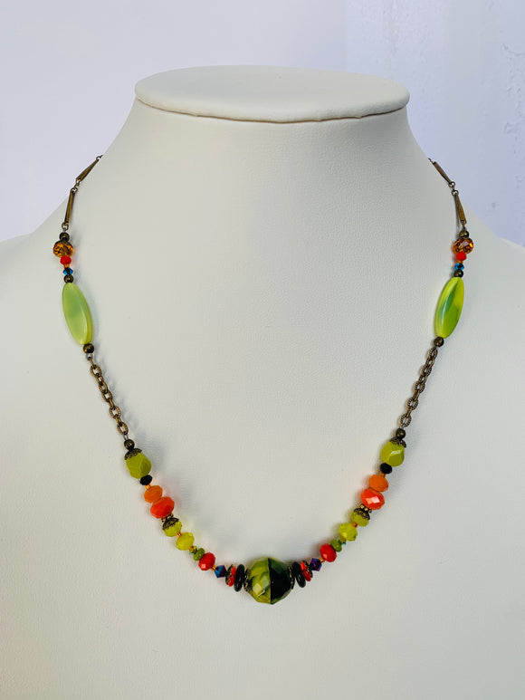 Green and Orange Bits of Bliss Necklace (Qty. 1)