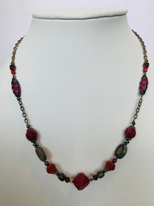 Red Czech Glass and Antique Brass Bits of Bliss Necklace (Qty. 1)