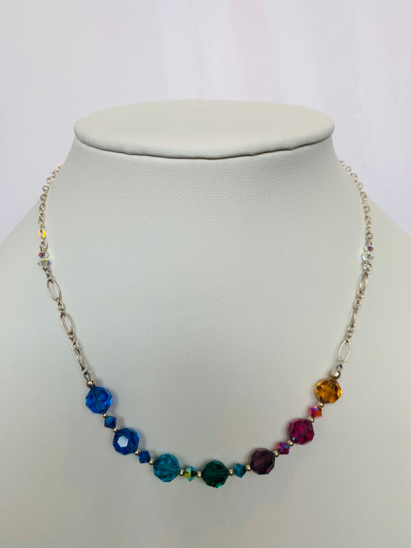 Rainbow Themed Seven Round Faceted Swarovski Crystal Necklace (Qty. 1 Pair)