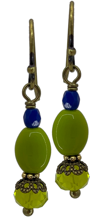 Chartreuse Czech Glass Bit of Bliss (Qty. 1 Pair)
