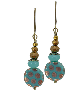 Aqua Green Round Table Cut Bead with Gold Dots (Qty. 1 Pair)