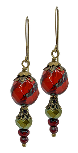 Red Czech Glass Bead with Tan Accents (Qty. 1 Pair)