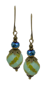 Mint Green Czech Glass Bead with Tan Accents (Qty. 1 Pair)