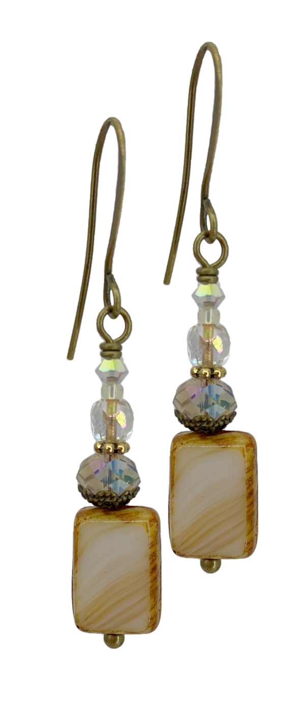 Tan Rectangular Table cut Bead with Czech Glass Accents (Qty. 1 Pair)