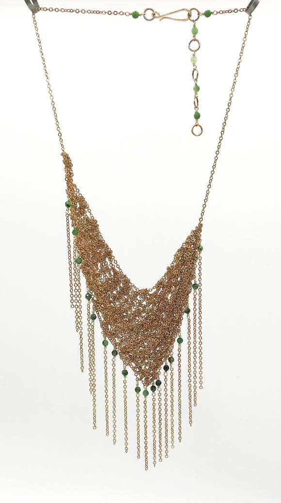 Brass Asymmetrical Fringe Necklace with Green Ruby Zoisite Beads (Qty. 1)