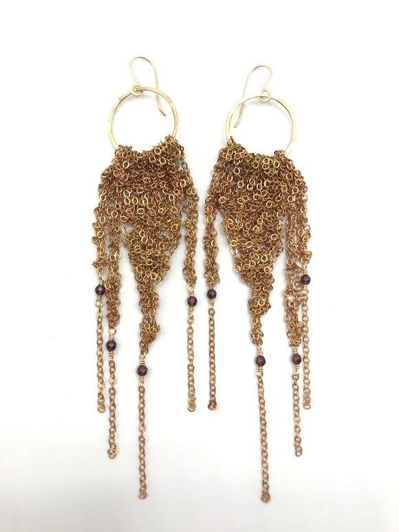 Large Brass Fringe Earrings with Garnet (Qty. 1 Pair)