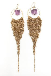 Large Gold Drop Earrings with Purple Fluorite (Qty. 1 Pair)