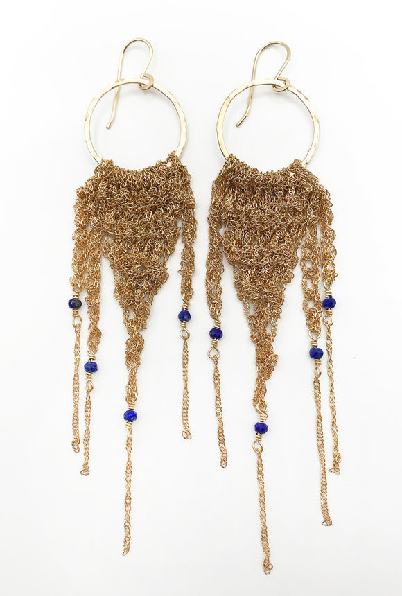 Large Gold Fringe Earrings with Lapis Lazuli (Qty. 1 Pair)