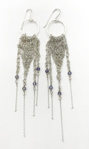 Medium Silver Fringe Earrings with Tanzanite (Qty. 1 Pair)