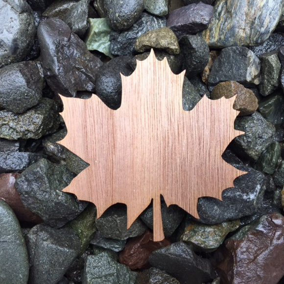 Maple Leaf Walnut Laser Cut Sticker (Qty. 6)
