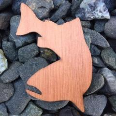 Swimming Salmon Redwood Laser Cut Sticker (Qty. 6)