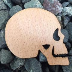Skeleton Skull Beech Laser Cut Sticker (Qty. 6)
