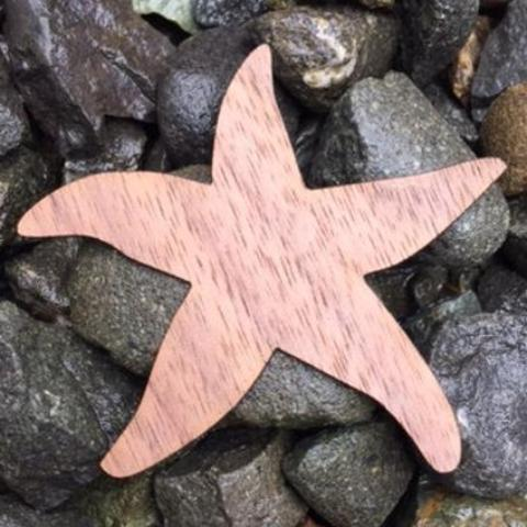Starfish Walnut Laser Cut Sticker (Qty. 6)
