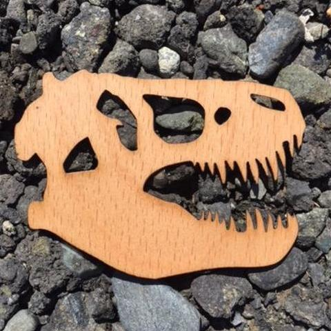 T-Rex Skull Beech Laser Cut Sticker (Qty. 6)