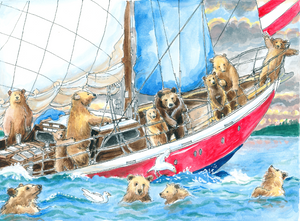 Bears Swimming and Sailing at Sunset (Qty. 6)