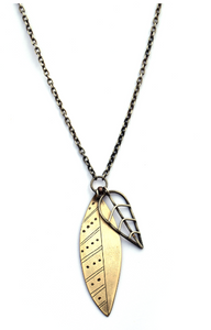 Small Mixed Metal Leaf Pendant (Qty. 1)