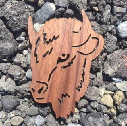 Buffalo Walnut Laser Cut Sticker (Qty. 6)