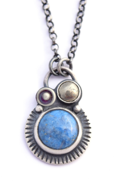 Lapis and Pyrite Orbital Pendant