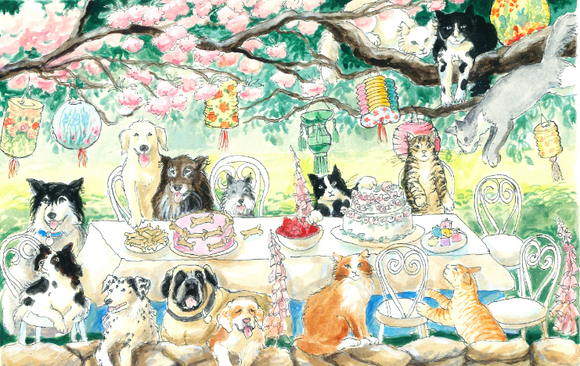 Outdoor Dog Party with Lanters (Qty. 6)
