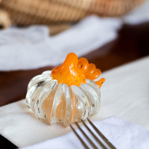 Small Handblown Glass Pumpkin - Clear with Orange Stem