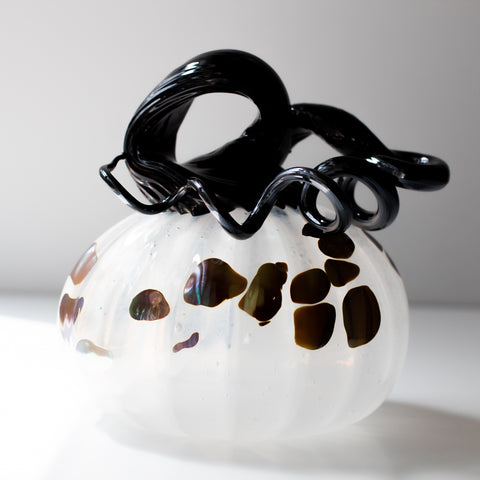 Large Handblown Glass Pumpkin - White with Iris Spots