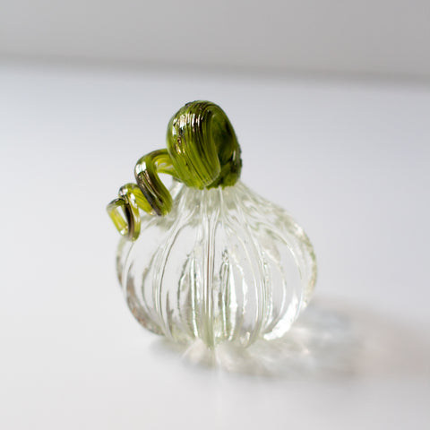Small Handblown Glass Pumpkin - Clear with Green Stem