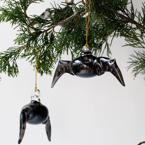 Blown Glass Black Bat Ornament