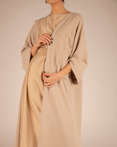 The Beige Embroidered Open Abayah