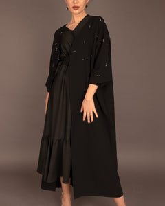 The Black Embellished Open Abayah