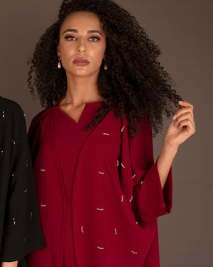 The Embellished Abayah 2pc set - Wine Red