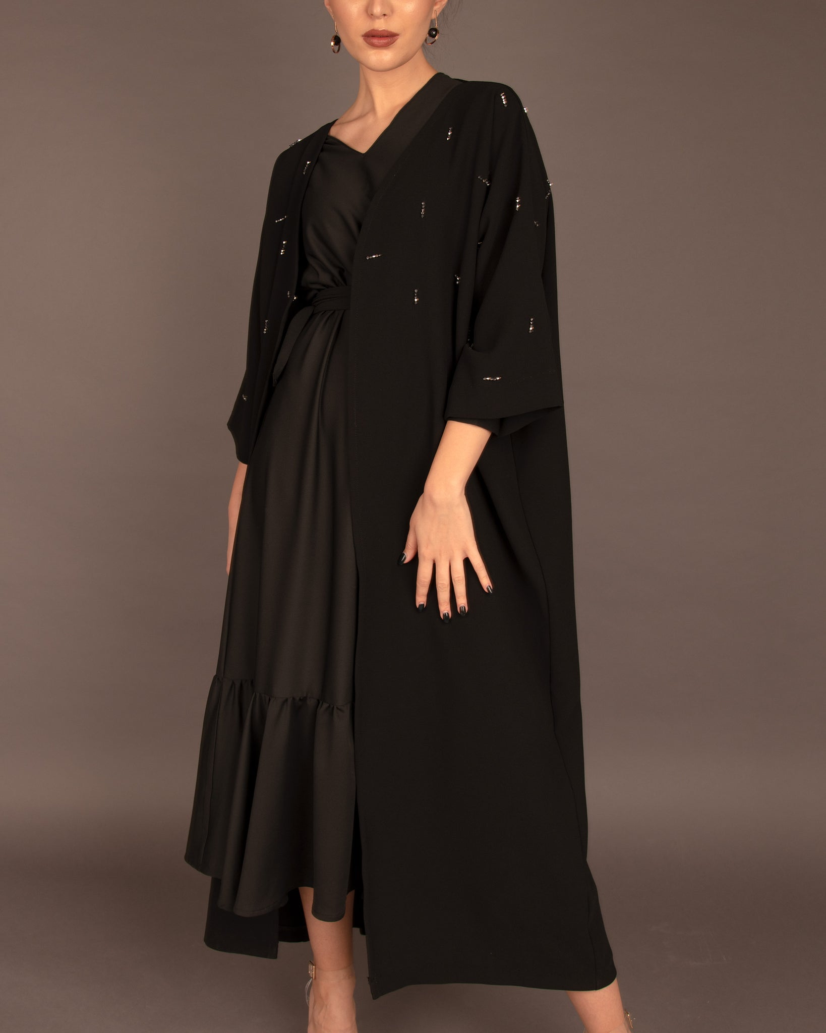 The Ruffle Abayah Black