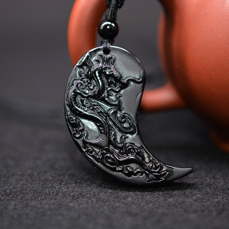 DRAIDIS BALANCE PENDANT - OBSIDIAN CARVING DRAGON AND PHOENIX NECKLACE