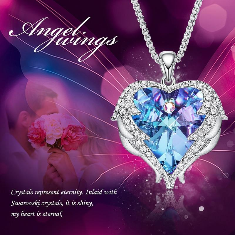 WING ANGEL HEART - SWAROVSKI HEART NECKLACE