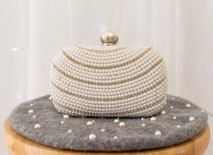 White Pearl Glam Clutch - Sotra Fashion