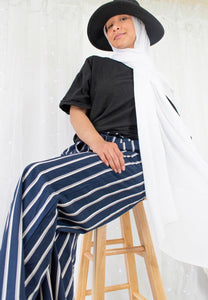 Blue Striped Pants - Sotra Fashion
